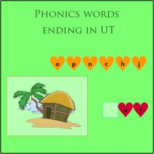 Phonics words ending in UT Phonics words ending in UT