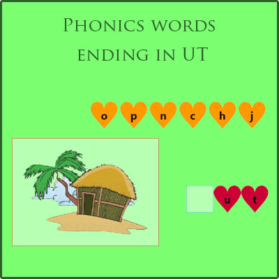 Phonics words ending in UT Phonics words ending in UT