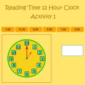 Reading Time 12 Hour Clock Activity 1 Reading Time 12 Hour Clock Activity 1