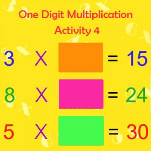 Key Stage One One Digit Multiplication Activity 4