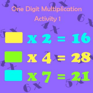 One Digit Multiplication Activity 1 One Digit Multiplication Activity 1