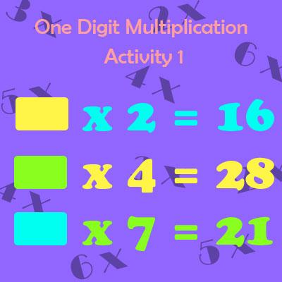 One Digit Multiplication Activity 1