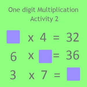 One digit Multiplication Activity 2 One digit Multiplication Activity 2
