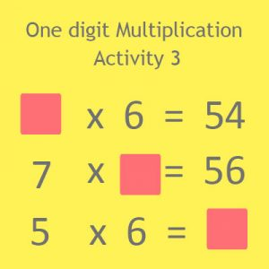 One digit Multiplication Activity 3 One digit Multiplication Activity 3
