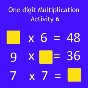 One digit Multiplication Activity 6 One digit Multiplication Activity 6