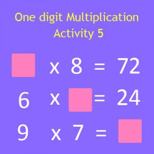 One digit Multiplication Activity 5 One digit Multiplication Activity 5