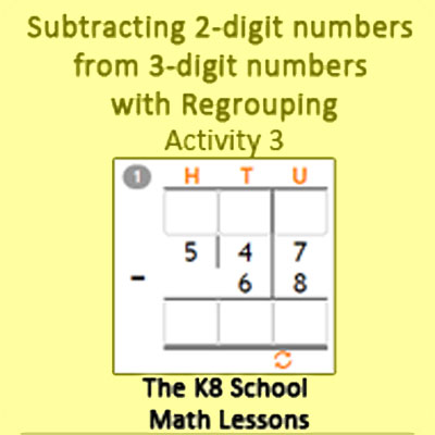 Subtraction 2-digit numbers from 3 digit numbers with Regrouping Activity 3