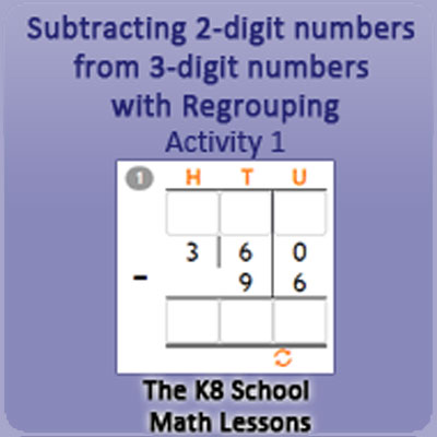 Subtraction 2 digit numbers from 3 digit numbers with Regrouping Activity 1
