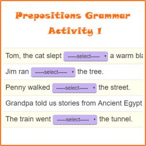 Prepositions Grammar Activity 1 Prepositions Grammar Activity 1