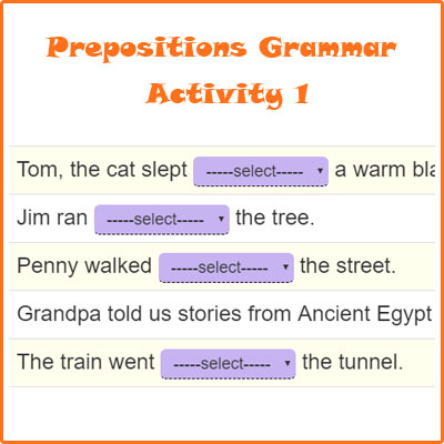 Prepositions Grammar Activity 1