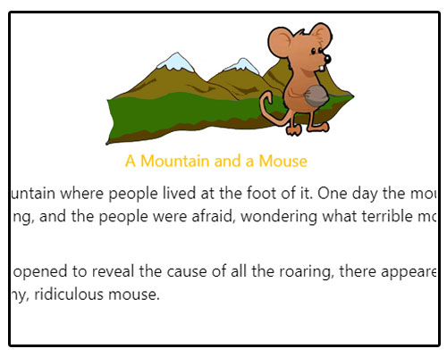 English Comprehension Skills Activity 3 - A Mountain and a Mouse