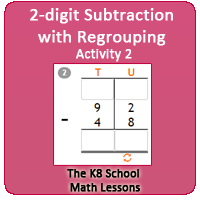 2 digit Subtraction with Regrouping Activity 2