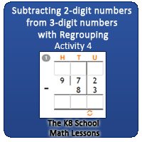 Subtraction 2-digit numbers from 3-digit numbers with Regrouping