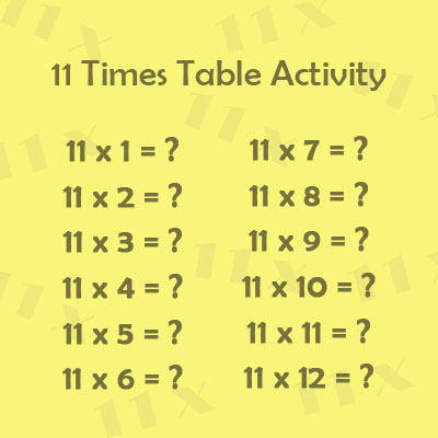 11 Times Table Activity 1