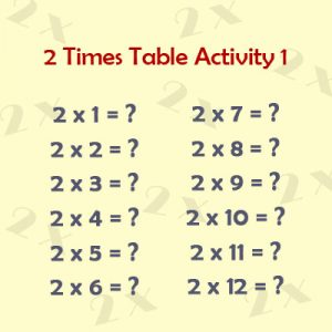 Key Stage One 2 Times Table Activity 1