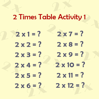 2 Times Table Activity 1