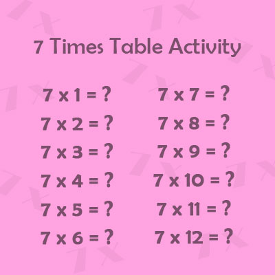 7 Times Table Activity 1 Year 2 Multiplication Tables