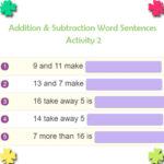 Addition & Subtraction Word Sentences Activity 2 Addition & Subtraction Word Sentences Activity 2