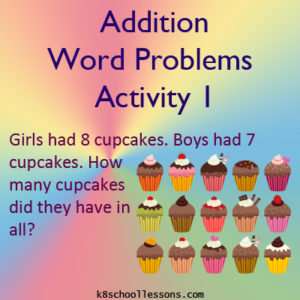 Addition Word Problems Activity 1 Addition Word Problems Activity 1