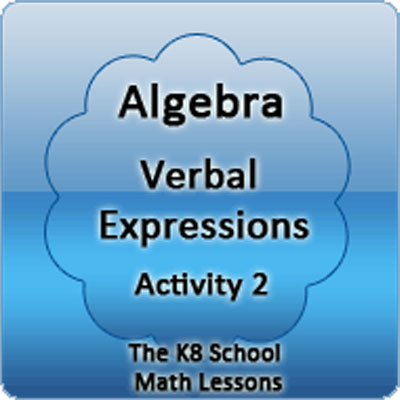 Algebra Verbal Expressions Activity 2