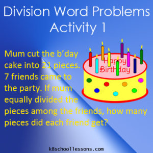Division Word Problems Activity 1 Division Word Problems Activity 1