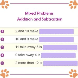 Subject and Predicate of a Sentence Mixed Problems Addition and Subtraction