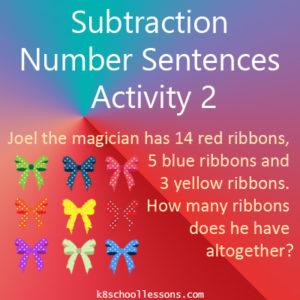 Subtraction Number Sentences Activity 2 Subtraction Number Sentences Activity 2
