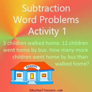 Subtraction Word Problems Activity 1 Subtraction Word Problems Activity 1