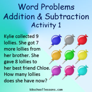 Word Problems Addition Subtraction Activity 1 Word Problems Addition Subtraction Activity 1