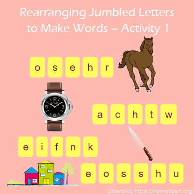 words with letters rearranging jumbled letters to make words activity 1 25763 | Yr1 spelling list1