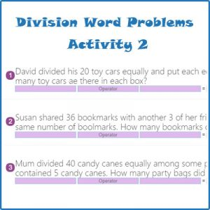 Key Stage One Division Word Problems Activity 2