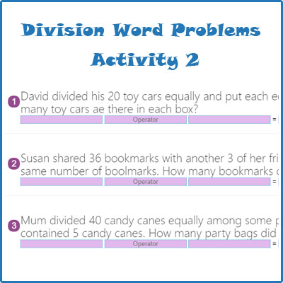 Division Word Problems Activity 2 Division Word Problems