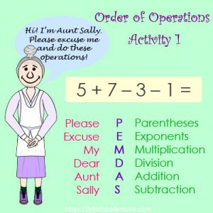 Order of operations Activity 1