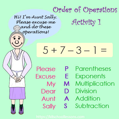 Order of Operations Activity 1 - No Parentheses