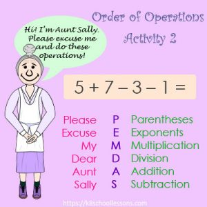 Order of Operations Activity 2 – No Parentheses Order of Operations Activity 2 – No Parentheses