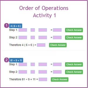 Finding the Perimeter Activity 1 Order of operations Activity 1