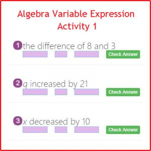 Algebra Variable Expression Activity 1
