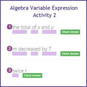 Algebra Variable Expression Activity 2 Algebra Variable Expression Activity 2