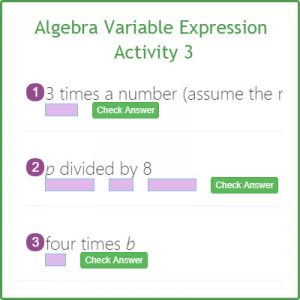 Algebra Variable Expression Activity 3 Algebra Variable Expression Activity 3
