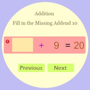 Addition Fill in the Missing Addend 10