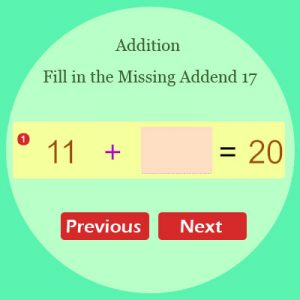 Addition Fill in the Missing Addend 17
