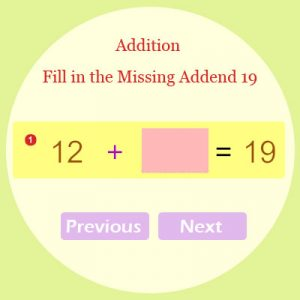 Addition Fill in the Missing Addend 19