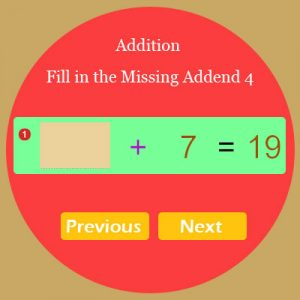Addition Fill in the Missing Addend 4 Addition Fill in the Missing Addend 4