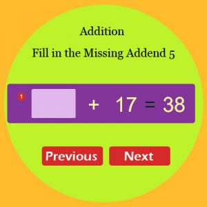 Addition Fill in the Missing Addend 5 Addition Fill in the Missing Addend 5