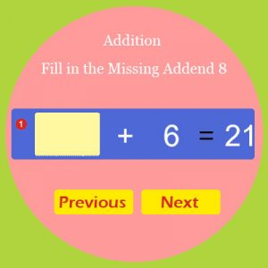 Addition Fill in the Missing Addend 8 Addition Fill in the Missing Addend 8