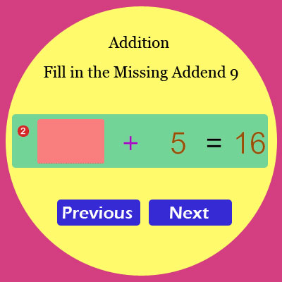 Addition Fill in the Missing Addend 9