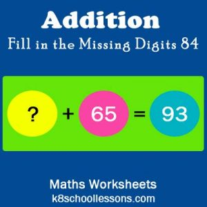 Addition Fill in the Missing Digits 84 Addition Fill in the Missing Digits 84