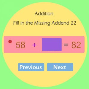 Addition Fill in the Missing Addend 22