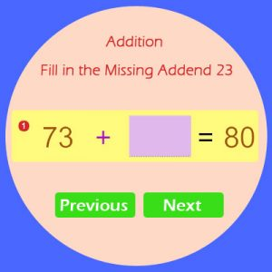 Addition Fill in the Missing Addend 23