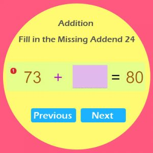 Addition Fill in the Missing Addend 24